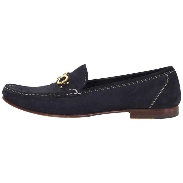 Salvatore Ferragamo Navy Suede Loafers Sz 9AA 1