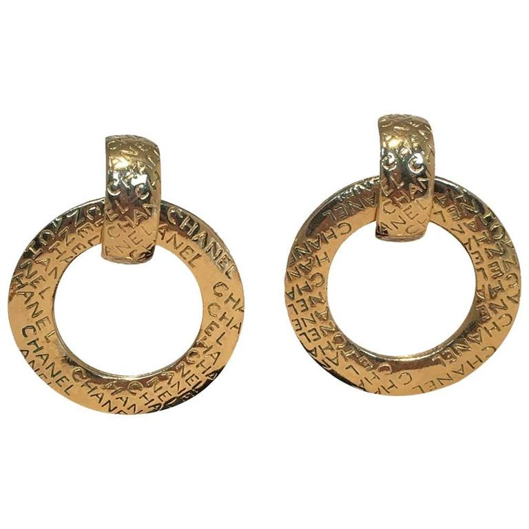 Chanel Vintage Gold Hoop Two Way Earrings For Sale