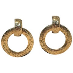 Chanel Vintage Gold Hoop Two Way Earrings
