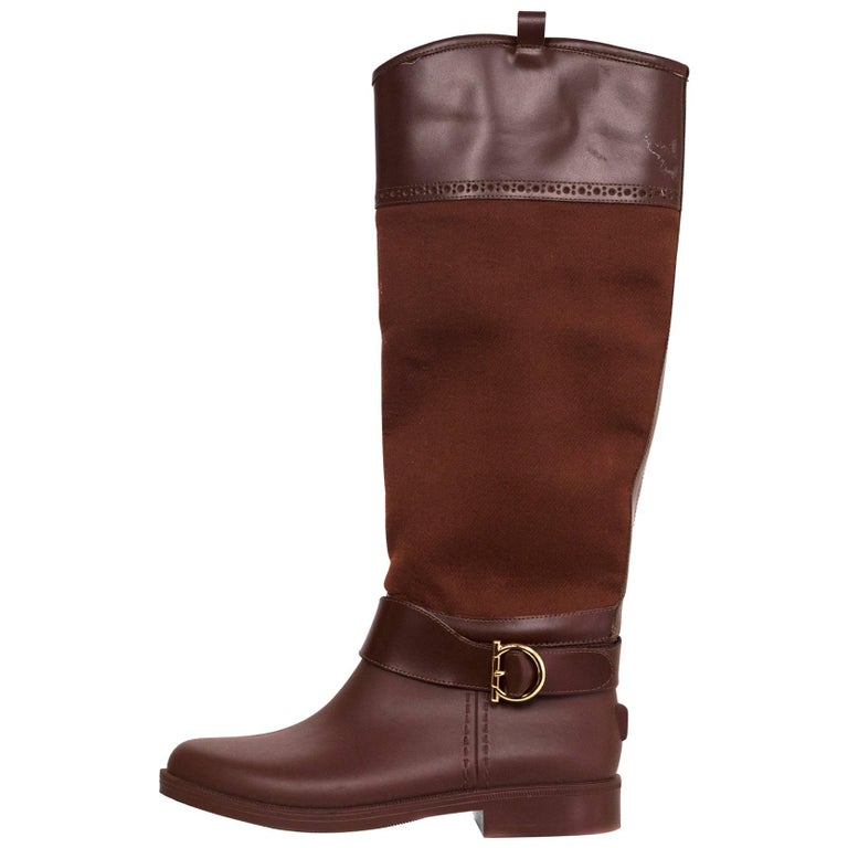 Salvatore Ferragamo Rust Canvas/Leather Riding Boots Sz 5