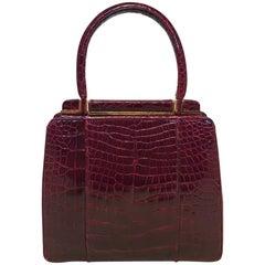Judith Leiber Vintage Dark Red Alligator Mini Handbag