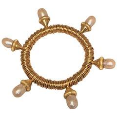 Vintage Designer Gold Wire Wrapped Pearl Drop Bangle Bracelet
