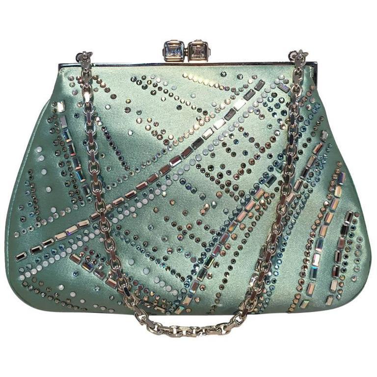 Judith Leiber Teal Silk and Swarovski Crystal Mini Evening Bag  For Sale