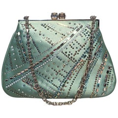 Judith Leiber Teal Silk and Swarovski Crystal Mini Evening Bag