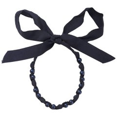 Lanvin Navy Beaded Ribbon Necklace with Dust Bag