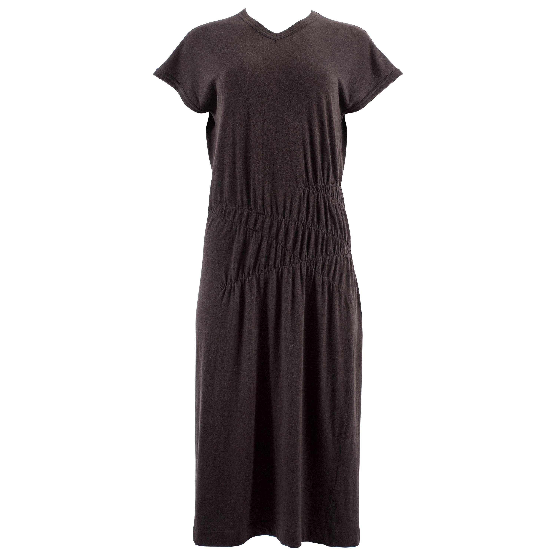 Comme des Garcons 1983-84 black cotton smocked dress