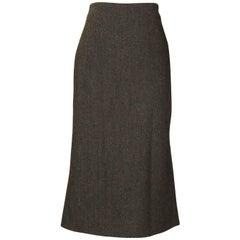 Alexander McQueen 2005 Runway Brown Wool Tweed Pleat Back Pencil Skirt