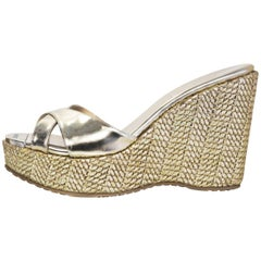 Jimmy Choo Gold Metallic Criss Cross Perfume Woven Wedges Sz 37 rt. $450