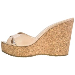 Jimmy Choo Nude Patent Criss Cross Perfume Wedges Sz 37 rt. $450