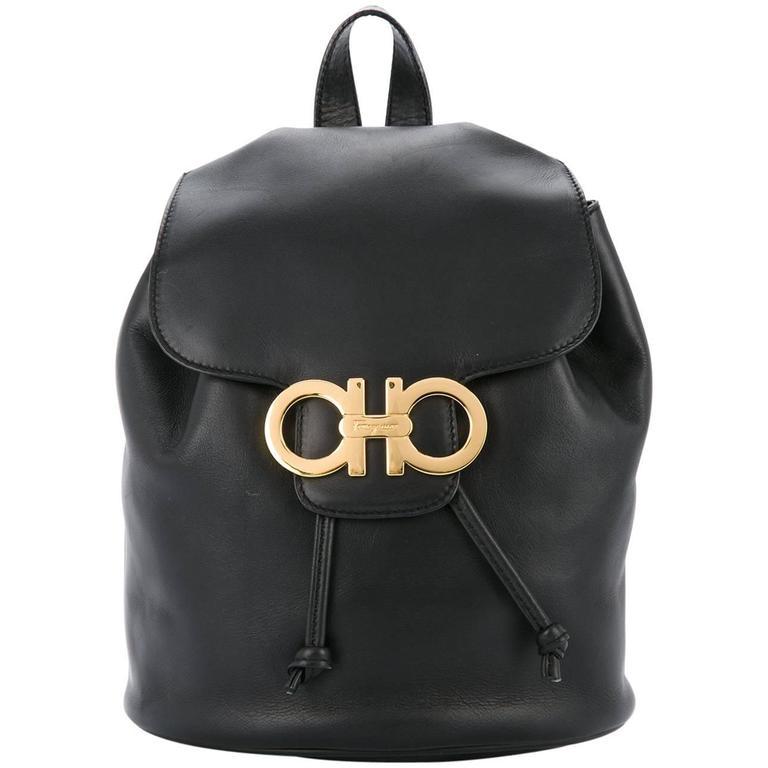 Salvatore Ferragamo Black Leather Drawstring Bucket Backpack Shoulder Flap  Bag For Sale 9d8cf58606