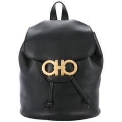Salvatore Ferragamo Black Leather Drawstring Bucket Backpack Shoulder Flap Bag