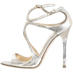 Jimmy Choo Lang 95 Crackled Mirror Leather Sandals Sz 36 with Dust Bag