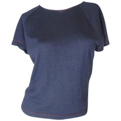 Chanel Navy Cashmere Tee with Red Stitching