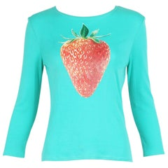Chloe by Stella McCartney Cotton Long Sleeved T-Shirt w/Strawberry Graphic