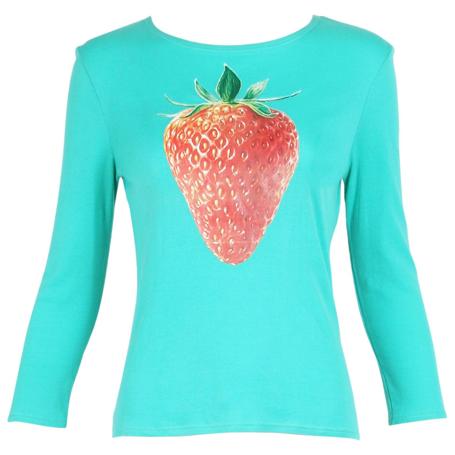 Chloe by Stella McCartney Cotton Long Sleeved T-Shirt w/Strawberry ...