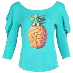 Iconic Chloe by Stella McCartney Green Cotton T-Shirt w/Pineapple Graphic