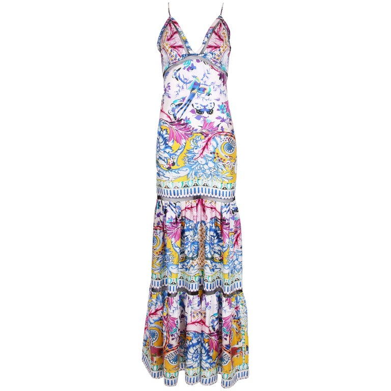 0bbe6cbb04 Roberto Cavalli Colorful Printed Silk Maxi Dress w/Tiered Skirt For Sale