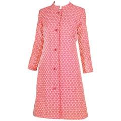 1960's Guy Laroche by Maria Carine Bubblegum Pink Patterned Coat