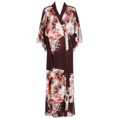 Jean Paul Gaultier Double Layered Mesh Kimono w/Japanese Inspired Print