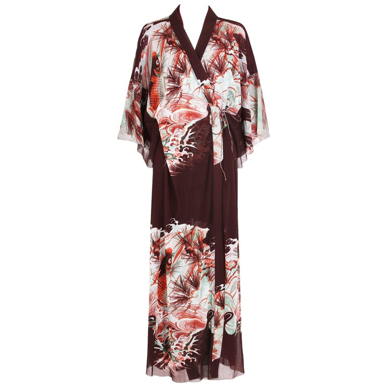 Jean Paul Gaultier Double Layered Mesh Kimono w/Japanese Inspired Print For Sale