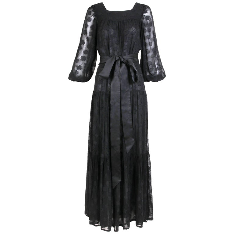 1980 Yves Saint Laurent YSL Black Sheer Tiered Maxi Dress w/Peasant Sleeves 1