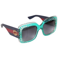Gucci Green Oversized Square Frame Sunglasses w/Rhinestone Detail