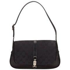 Gucci Black Guccissima Jacquard Jackie Handbag