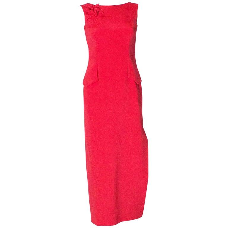 Vintage Red Tomasz Starzewski Evening Gown For Sale