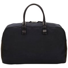 Bottega Veneta Black Canvas Duffel Bag