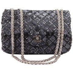 CHANEL 'Timeless' Flap Bag in Blue Night Sequins