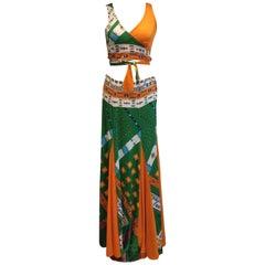 Oleg Cassini Multi Coloured 60's/70's Cropped Top & Maxi Skirt Ensemble