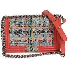 CHANEL 'Boy' Flap Bag in Multicolored Tweed and Coral Trim Leather