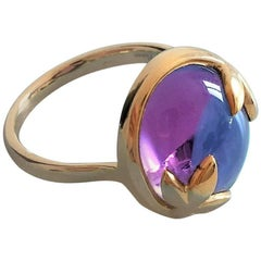 Tiffany Olive Leaf Ring by Paloma Picasso, 18kt Gold & Amethist
