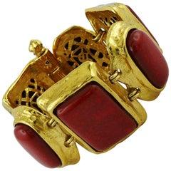 Yves Saint Laurent YSL Vintage Faux Coral Cuff Bracelet
