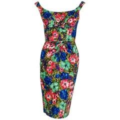 1950's Ceil Chapman Watercolor Rose Floral Print Cotton Shelf-Bust Wiggle Dress
