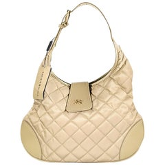 Burberry Tan Quilted Nylon and Leather Hobo Bag NWT