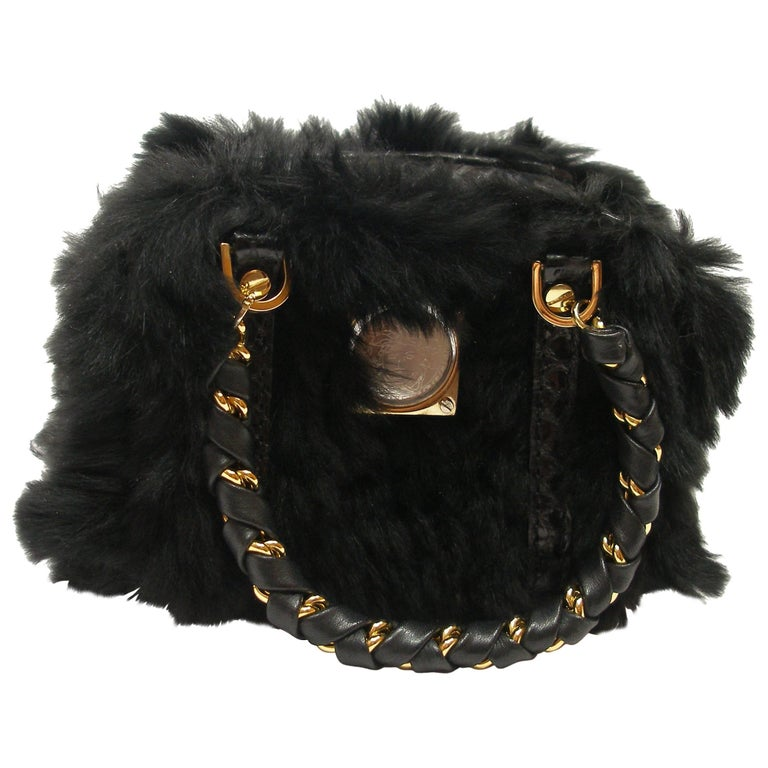 SO CUTE Micro Versace Bag in Python and fausse furring