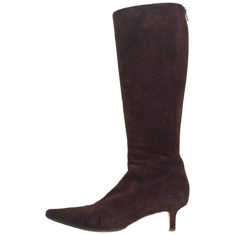 jimmy choo brown suede kitten heel boots sz 38 with box