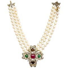 Chanel Vintage Three Strand Faux Pearl & Crystal Choker Necklace