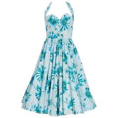 1950's Blue Daisies Floral Print Cotton Sweetheart Halter Full-Skirt Sun Dress