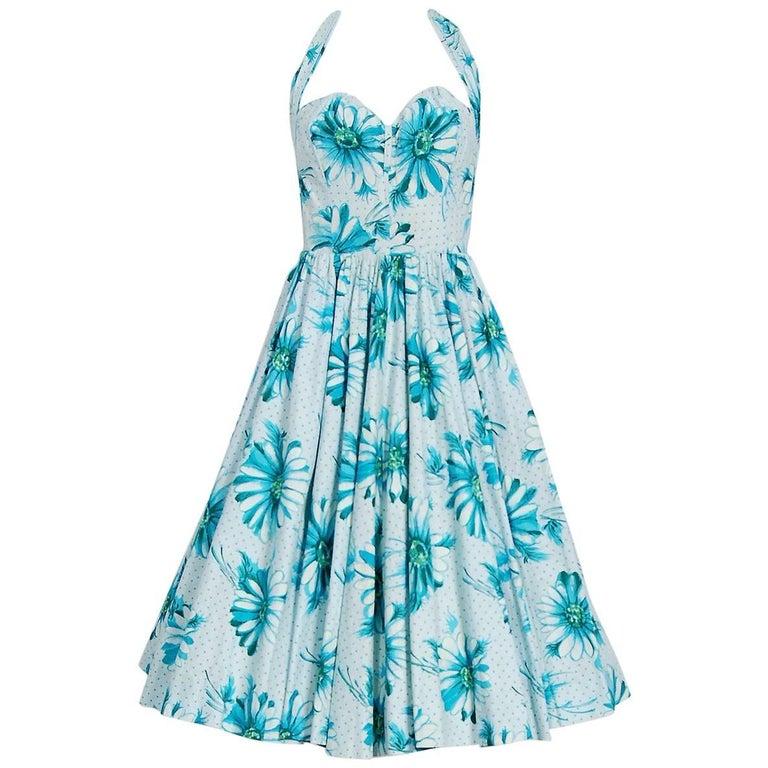 Blue Daisies Floral Print Cotton Sweetheart Halter Full Skirt Sun Dress, 1950s