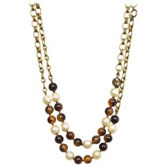 Chanel Vintage '80s Beaded and Faux Pearl Two-Strand Necklace