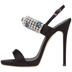 Giuseppe Zanotti New Sold Out Black Suede Crystal Evening Sandals Heels in Box