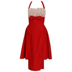 1950's Ruby-Red Cotton & Ivory Lace Shelf-Bust Halter Skirted Cocktail Dress
