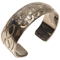 Vintage Sterlig Silver Native American Symbols Cuff Bracelet-Signed