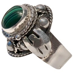 1960'S Sterling Silver and Malachite Poison Ring-Signed