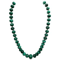 Vintage Malachite & Sterling Bead Necklace