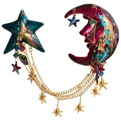 Lunch at the Ritz 24-carat Gold Celestial Double Hanging Swag Brooch Pin