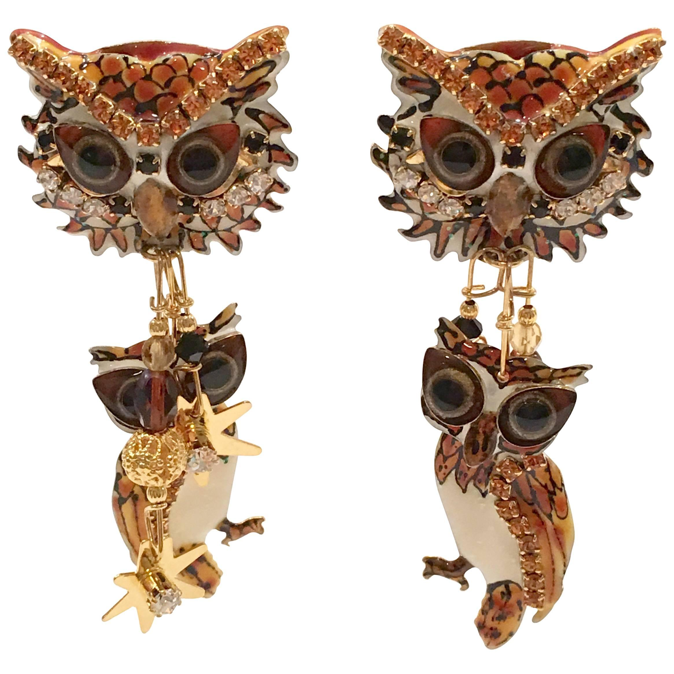 Sterling Silver Rose Gold Plated Owl Earrings made with 6228 Swarovski® Crystals
