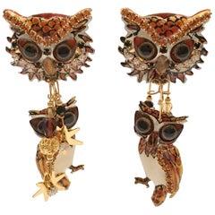 80'S Lunch at the Ritz Double Dangle Big Eye Owl Earings